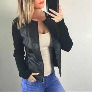 Alfani Black Leather Wool Jacket Size Small